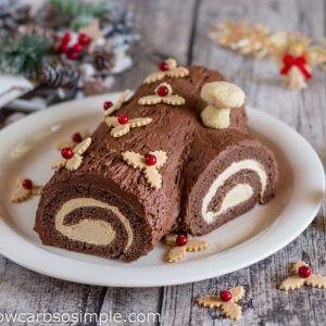 Low Carb Buche De Noel Yule Log Cake