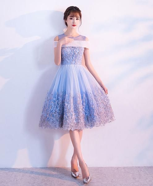 Cute blue lace tulle short prom dress, blue homecoming dress