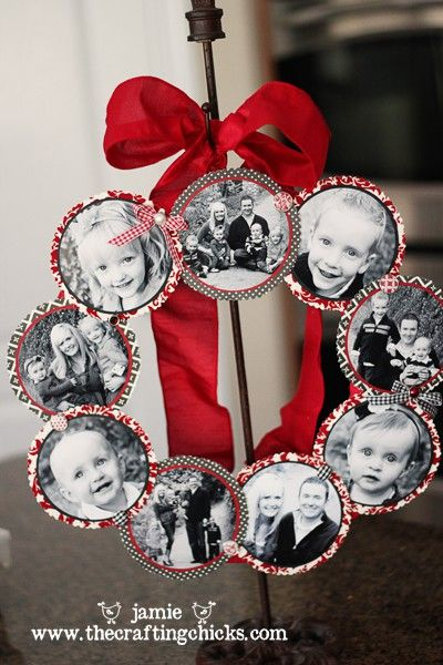 DIY wreath with family photos from throughout the year