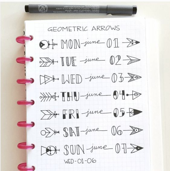 Creative Date Bullet Journal with Arrows