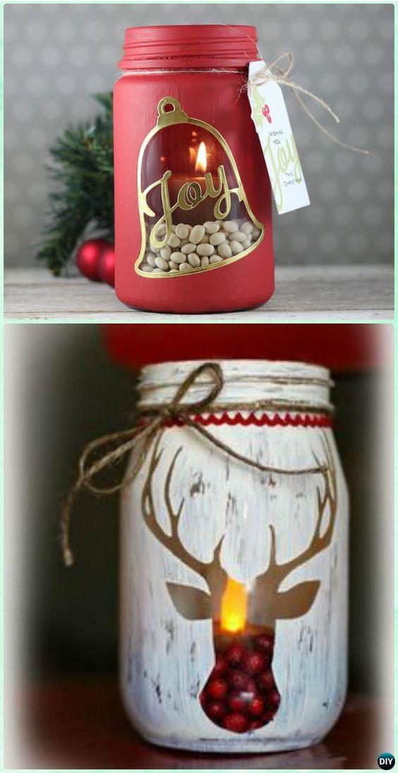 #DIY Stenciled Mason Jar Candle Holder #Christmas Lights…