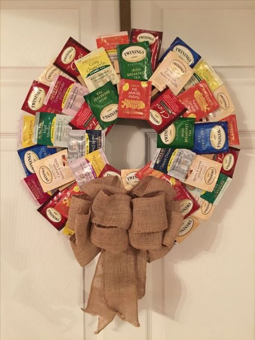 Tea Wreath. Styrofoam wreath ring and close pins glued one. You're able to clip the outside tea bags and then a dab of hot glue for the two inside layers. Add a cute bow!! Great Christmas gift for the tea-lover!
