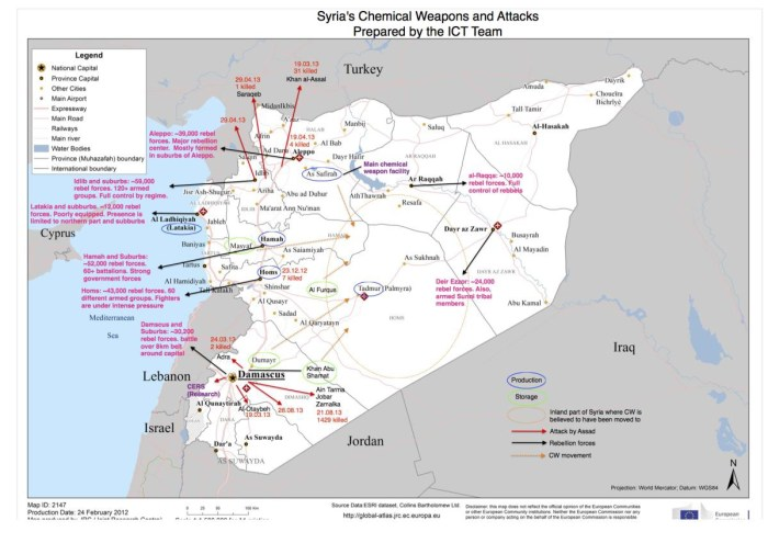 The locations of the Syrian chemical weapons caches. From the ICT report.