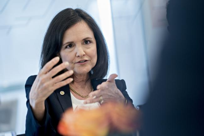 © Bloomberg. Judy Shelton, U.S. executive director for the European Bank for Reconstruction and Development, speaks during an interview in Washington, D.C., U.S., on Wednesday, May 29, 2019. Shelton, a conservative economist whom the Trump administration is considering for a vacancy on the Federal Reserve, said the central bank should avoid restraining growth while the U.S. is engaged in a trade war with China.