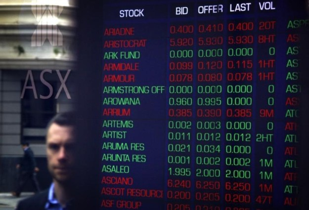 © Reuters. Australia stocks lower at close of trade; S&P/ASX 200 down 1.57%