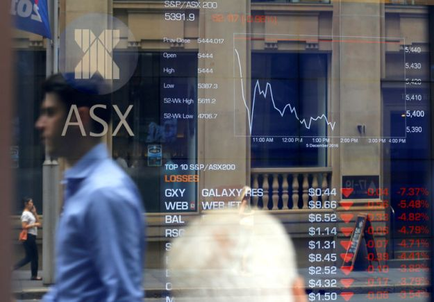 © Reuters. Australia stocks lower at close of trade; S&P/ASX 200 down 0.25%