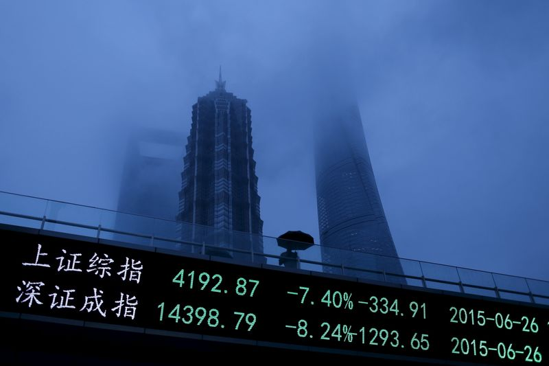 © Reuters.  China stocks lower at close of trade; Shanghai Composite down 0.71%