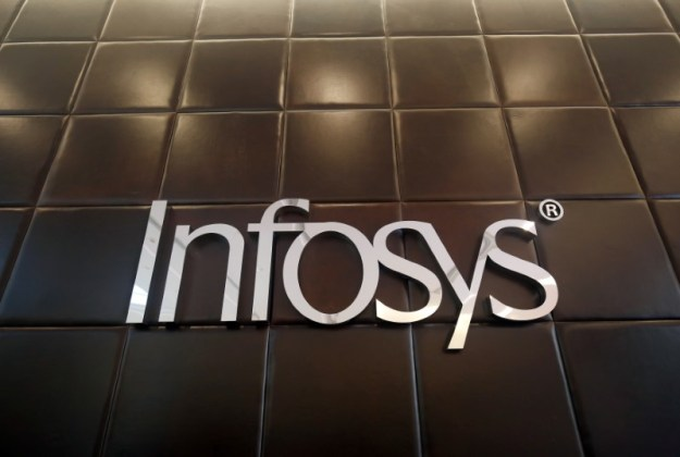 © Reuters. The logo of Infosys is pictured inside the company's headquarters in Bengaluru