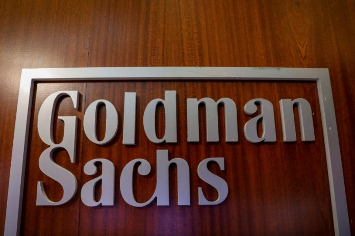 © Reuters. The Goldman Sachs company logo is seen in the company's space on the floor of the NYSE in New York