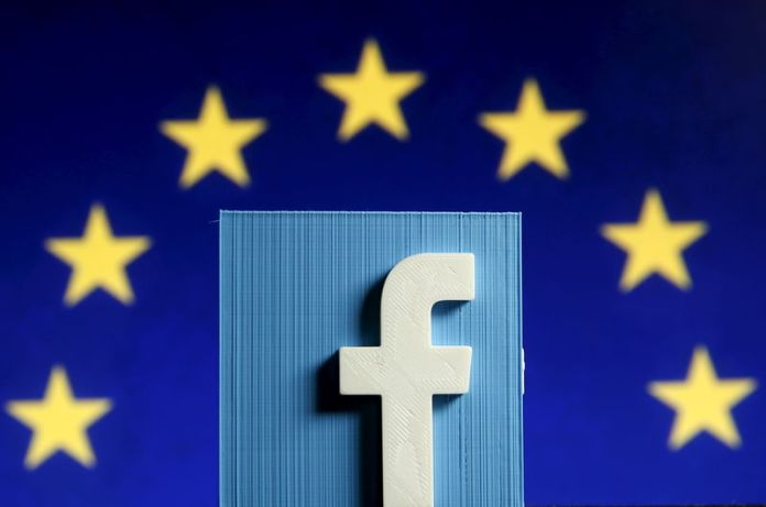 © Reuters. Picture illustration of 3D-printed Facebook logo in front of EU logo