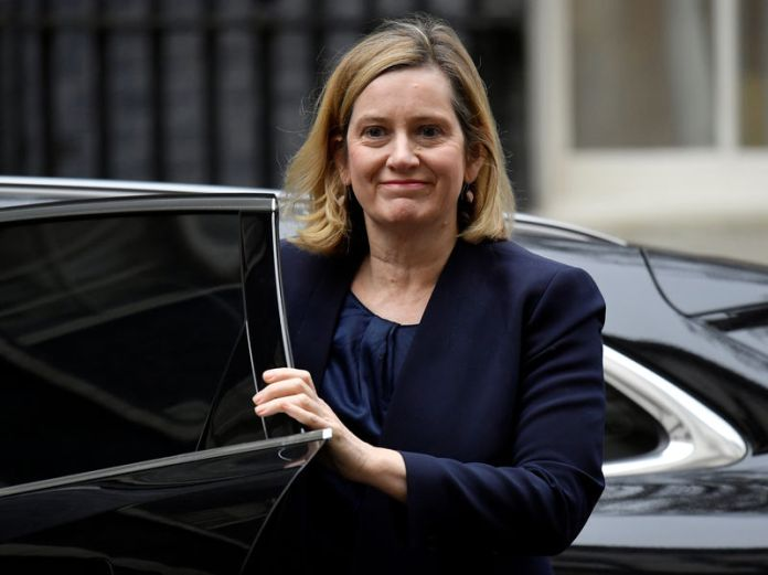 © Reuters. Britain's Work and Pensions Secretary, Amber Rudd, arrives in Downing Street, in central London