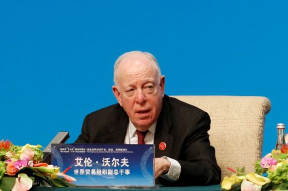 © Reuters. WTO Deputy Director-General Wolff speaks at a news conference following the