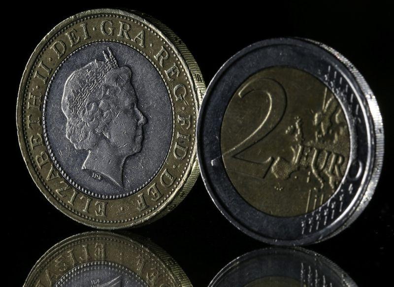 © Reuters. Monete da una sterlina e da due euro