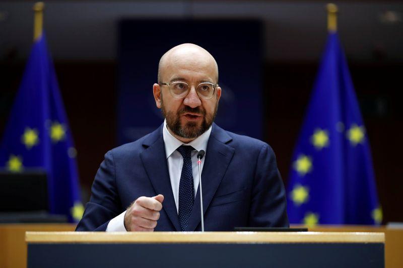 © Reuters. il presidente del Consiglio europeo Charles Michel durante un discorso al Parlamento europeo a Bruxelles