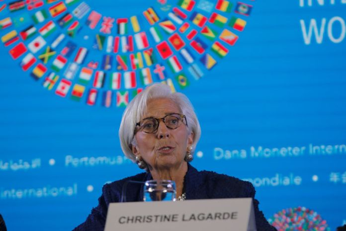© Reuters. IMF Managing Director Christine Lagarde speaks during International Monetary Fund - World Bank Annual Meeting 2018 in Nusa Dua, Bali