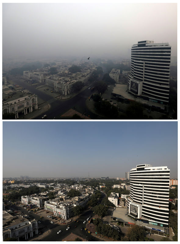 © Reuters. A combination picture shows buildings shrouded in smog in New Delhi
