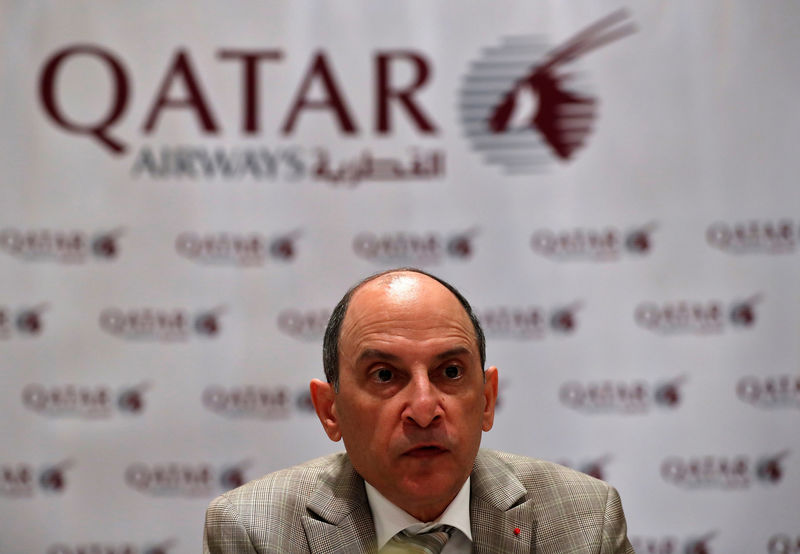 © Reuters. FILE PHOTO - Akbar Al Baker, Qatar Airways CEO, talks to media during a roundtable conference in New Delhi