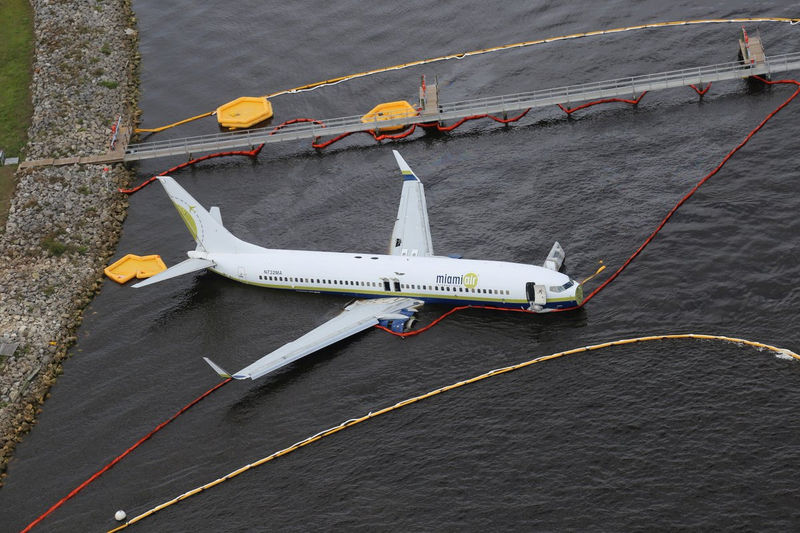 © Reuters. Aerial view of the Miami Air International Boeing 737-800 that overran the runway at NAS Jacksonville