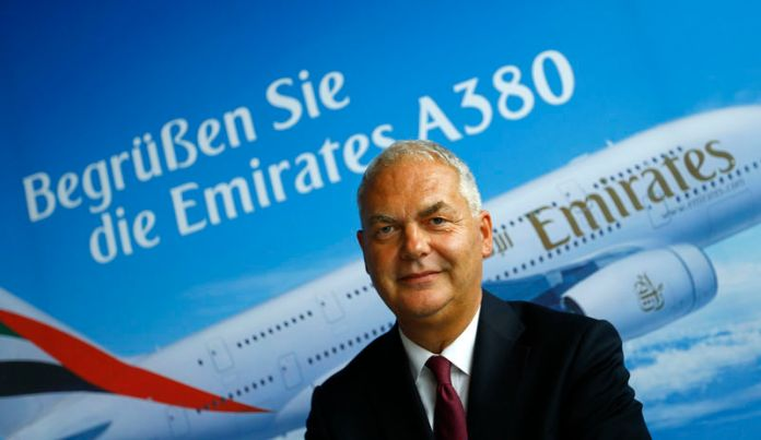 © Reuters. Antinori, COO of United Arab Emirates air carrier Emirates addresses the media after the first landing of an Emirates Airbus A380 in Frankfurt's airport