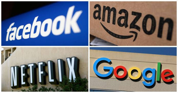 © Reuters. Facebook Amazon Netflix and Google logos in combination photo from Reuters files