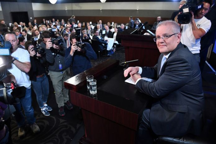 © Reuters. Prime Minister Scott Morrison at the National Press Club in Canberra