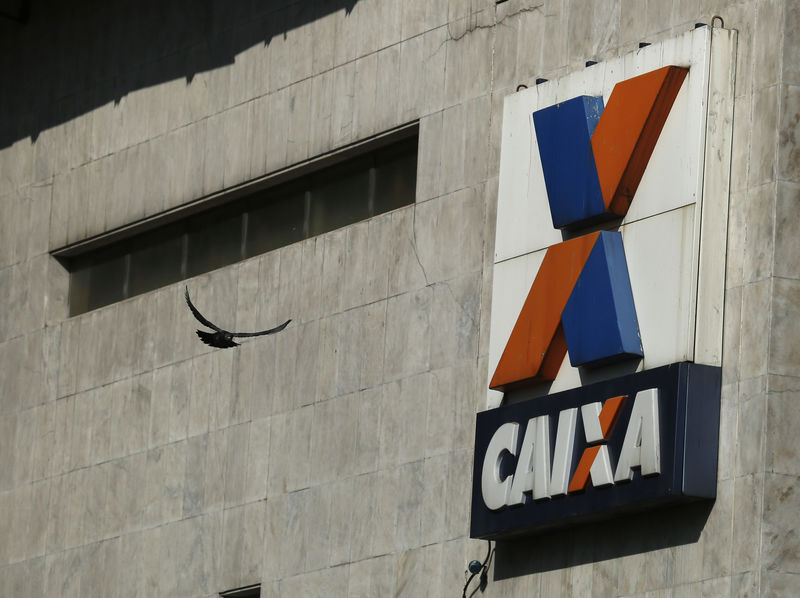 © Reuters. A view shows the company logo of Caixa Economica Federal bank in downtown Rio de Janeiro