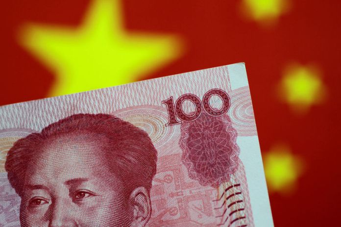 © -. FILE PHOTO: Illustration photo of a China yuan note
