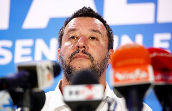 © -. Deputy Prime Minister and League party leader Matteo Salvini speaks to the media at the League party headquarters in Milan