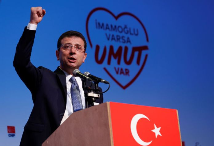 © -. Imamoglu, main opposition CHP's Istanbul mayoral candidate, speaks during his campaign coordination meeting in Istanbul