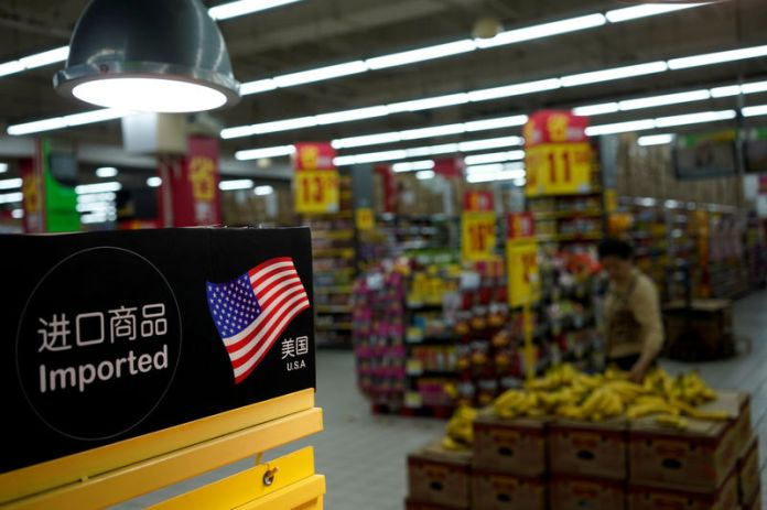 © -. Imports from the U.S. are seen at a supermarket in Shanghai