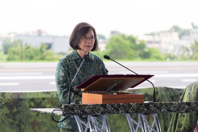 © -. Taiwan President Tsai Ing-wen speaks during the Han Kuang military exercise simulating China's People's Liberation Army (PLA) invasion of the island, in Changhua