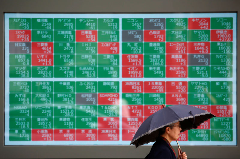 © Reuters. FILE PHOTO: A passerby walks past in front of a stock quotation board outside a brokerage in Tokyo