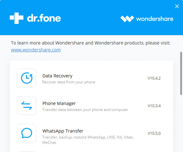 Wondershare Dr.Fone toolkit for iOS and Android v10.5.0.316