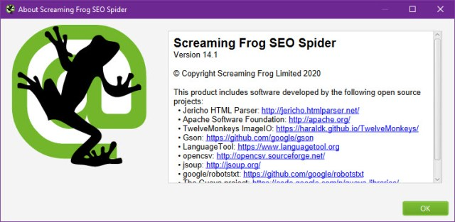 Screaming Frog SEO Spider 14.1