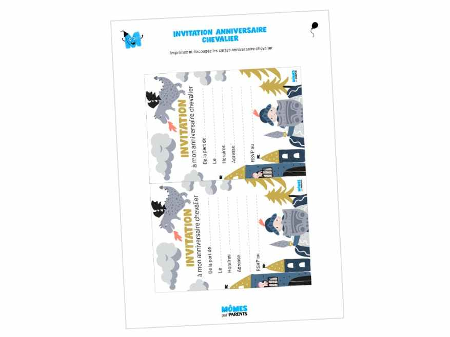 carte d anniversaire chevalier momes net