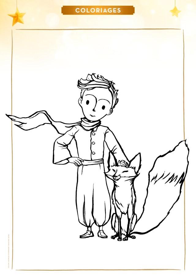 Coloriage le Petit Prince et le Renard  MOMES.net