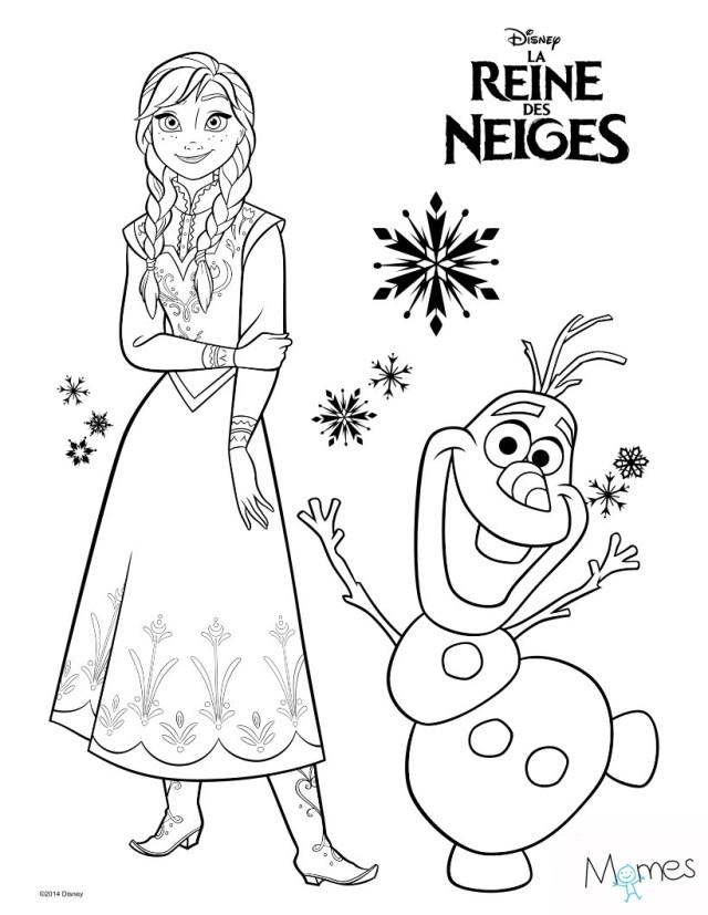 Coloriage Reine des Neiges : Anna et Olaf  MOMES.net