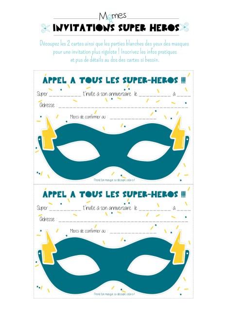 masques invitations anniversaire super