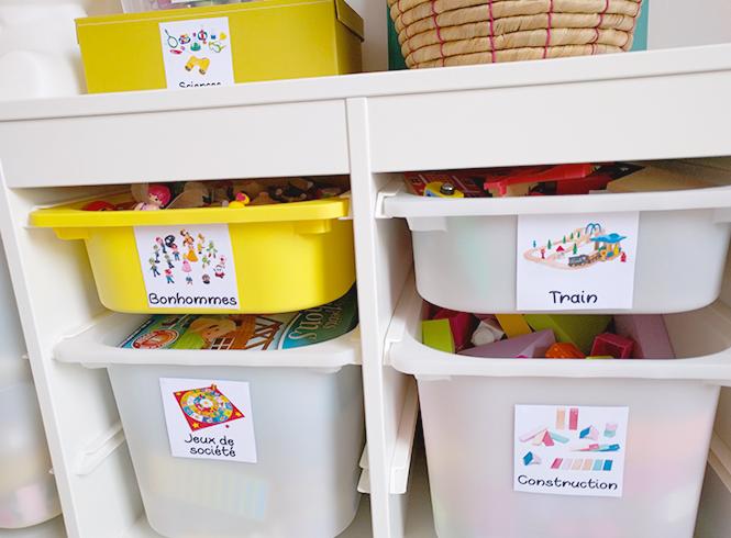 etiquettes de rangement pour jouets