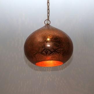 Indiase-hanglamp-filigrain-vintage koper-pompoen-te koop bij winkel Indistrieel in Middelburg