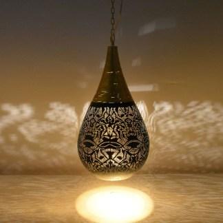 Indiase hanglampen small filigrain druppel met draadwerk zwarte buitenkant goudkleur aan binnenkant te koop bij winkel Indistrieel in Middelburg