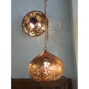 filigrain pompoen koperkleur hanglamp Indistrieel