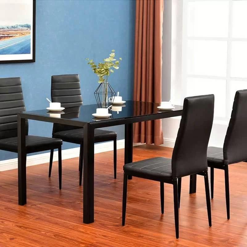 table a manger rectangulaire avec plateau en verre trempe noir