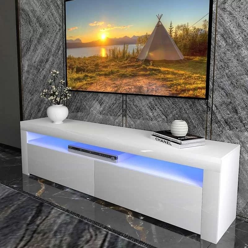 meuble tv a led avec 2 portes rabattantes 1 etagere finition laquee brillante 160 x 50 x 35 cm