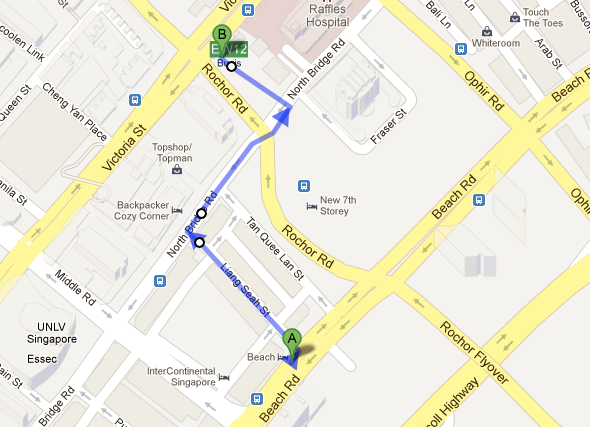 Walking from Beach Hotel to EW 12 Bugis MRT Station