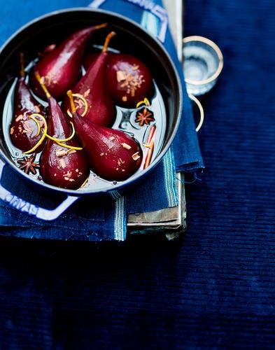 poires au vin de noel copeaux de chocolat