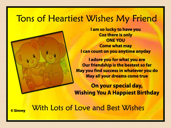 Tons Of Heartiest Wishes For My Friend Free For Best