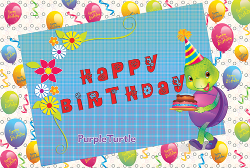 Birthday Wishes With Purple Turtle Free Happy Birthday ECards 123 Greetings
