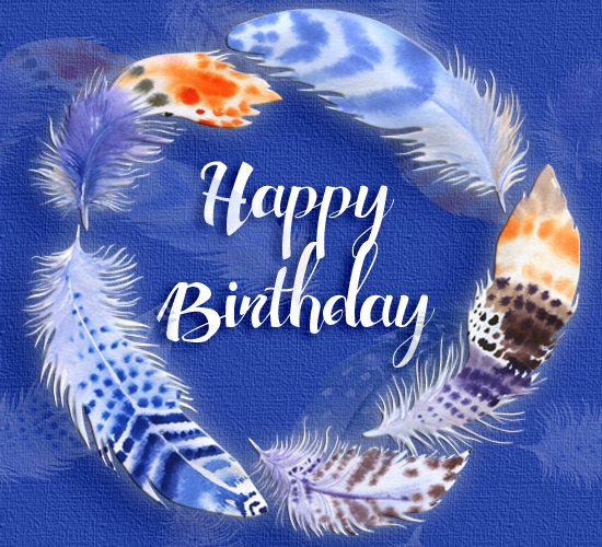 Happy Birthday Colorful Feathers Free Happy Birthday