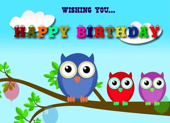 Birthday Wishes From Owls Free Happy Birthday ECards Greeting Cards 123 Greetings